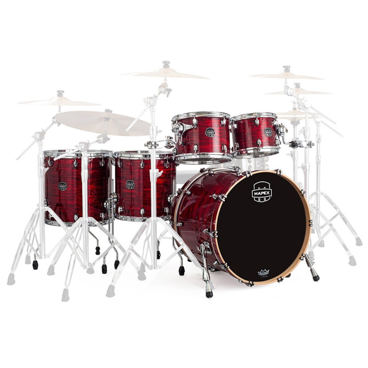 Mapex saturn v 22 39 39 sound wave twin shell pack red strata for 16x14 floor tom