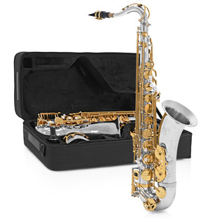 Rosedale Tenor Saxophone Complete Pack, Silver + Gold, by Gear4music