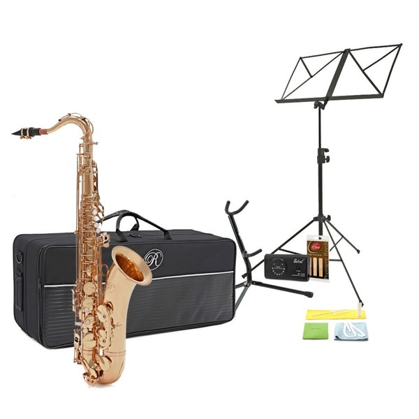 Rosedale Tenor Saxophone Complete Pack, Gold, by Gear4music