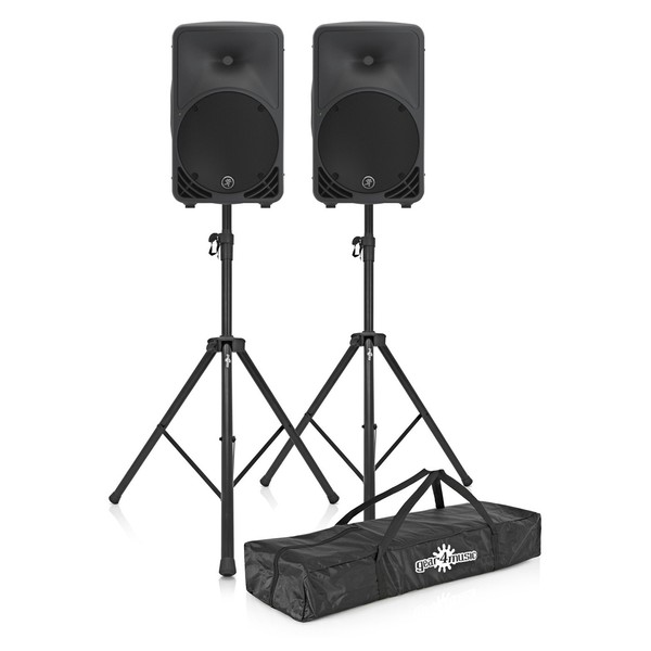 Mackie SRM350 V3 Active PA Speaker Pair with Speaker Stands Bundle