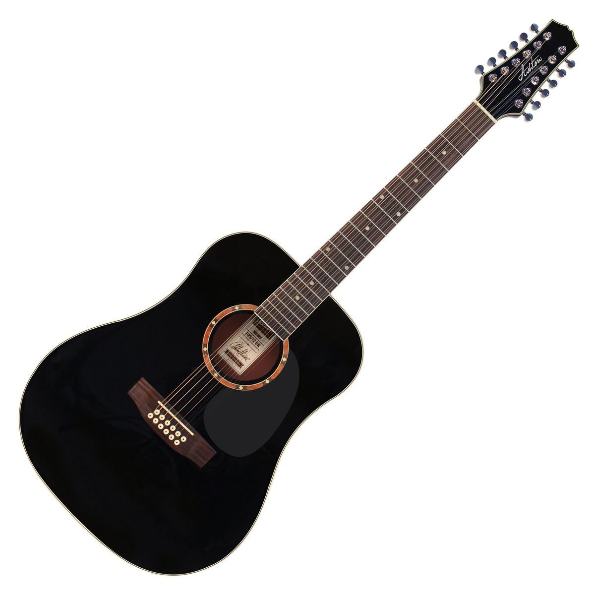 ashton d25 12 dreadnought 12 string acoustic guitar black at gear4music