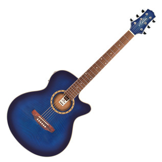 Ashton SL29CEQ Electro Acoustic Guitar, Tranasparent Blue Burst