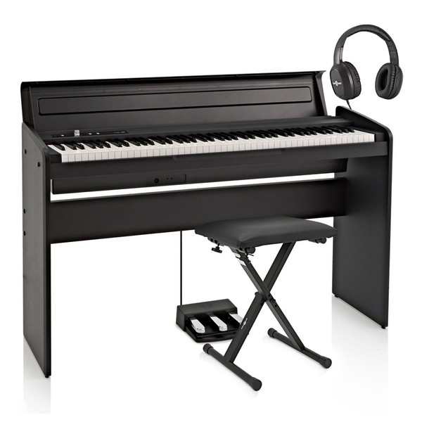 Korg LP-180 Digital Piano, Black with Stool + Headphones