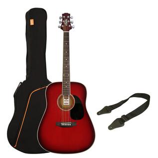Ashton SPD25 Acoustic Guitar Starter Pack, Wine Red Sunburst