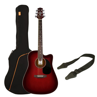 Ashton SPD25CEQ Electro Acoustic Guitar Pack, Wine Red Sunburst