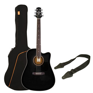 Ashton SPD25CEQ Electro Acoustic Guitar Starter Pack, Black
