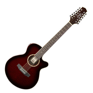 Ashton SL29/12CEQ 12 String Electro Acoustic Guitar, Wine Red Burst