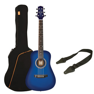 Ashton SPJOEYCOUSTIC 3/4 Acoustic Guitar Pack, Transparent Blue Burst