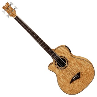 Dean Exotica Quilt Ash Left Handed Electro Acoustic Bass, Natural