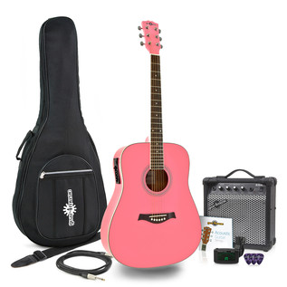 Dreadnought Electro Acoustic Guitar + 15W Amp Pack, Pink