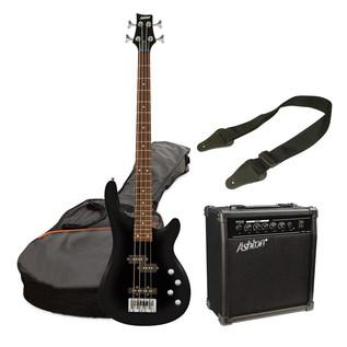 Ashton SPAB4 Bass Guitar Starter Pack, Black