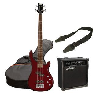 Ashton SPAB4 Bass Guitar Starter Pack, Transparent Red