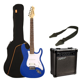 Ashton SPAG232 Electric Guitar Starter Pack, Transparent Dark Blue