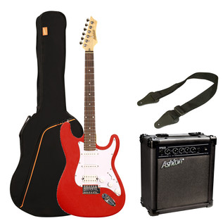 Ashton SPAG232 Electric Guitar Starter Pack, Transparent Red