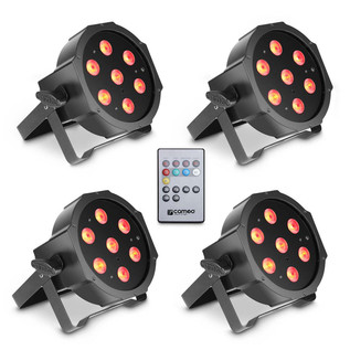 Cameo Tri Colour 7 x 3W LED RGB Flat Par Can, Set of 4