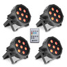 Cameo Tri Colour 7 x 3W LED RGB Flat Par Can, Sett med 4