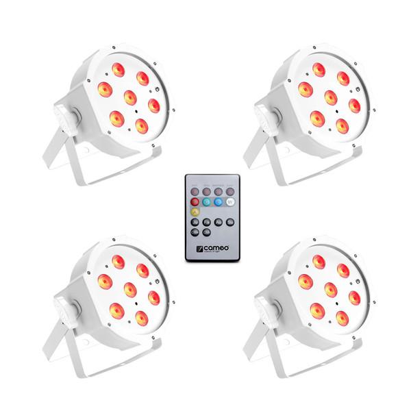 Cameo Tri Colour 7 x 3W LED RGB Flat Par Can, White Set of 4