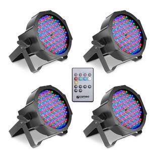 Cameo 144 x 10mm RGB LED Flat Par Can Spotlight, Black Set of 4