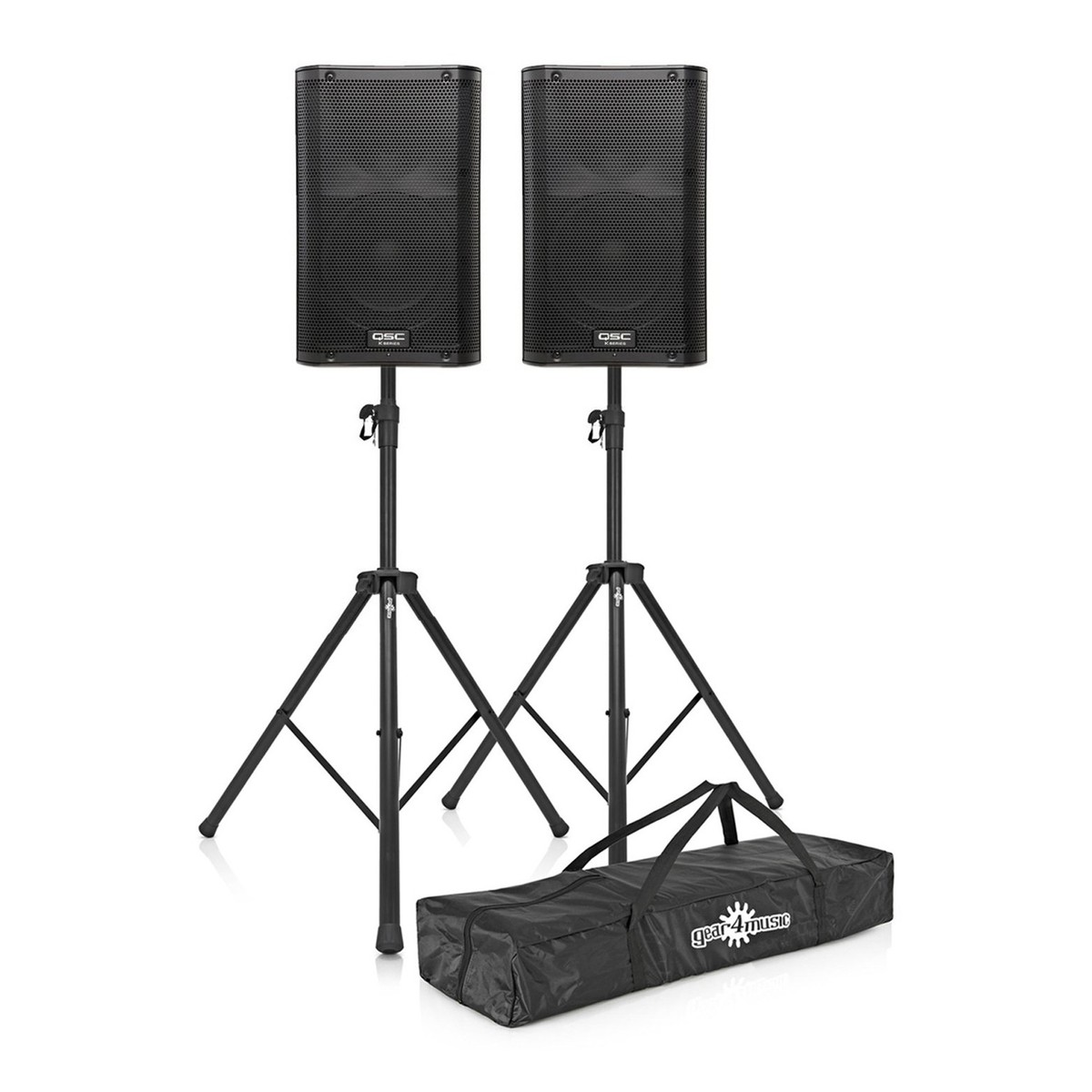 Qsc K10 Active Pa Speakers With Stands At Gear4music