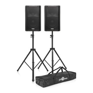 QSC K10 Active PA Speakers with Stands