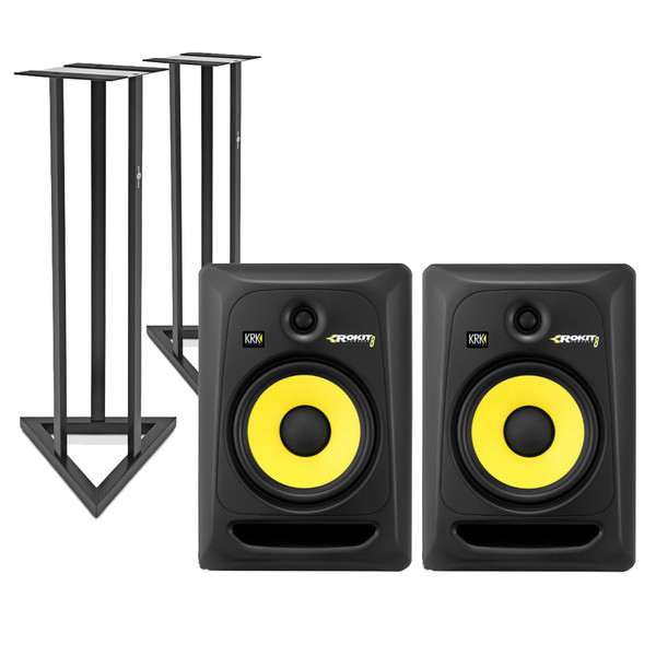 KRK Rokit RP8 G3 Active Monitor, Pair with Stands