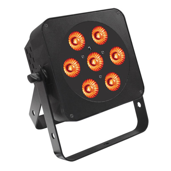 LEDJ Slimline 7Q5 RGBA LED Par Can, Black Housing