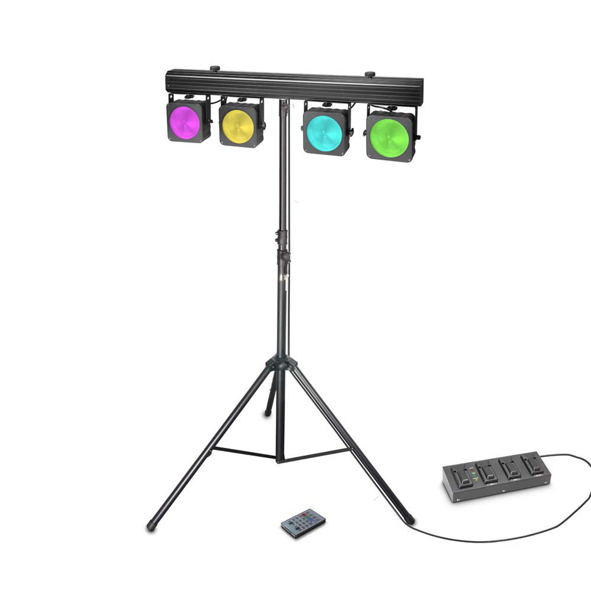 cameo multi par set 4 x 30w cob led lighting system  with case at gear4music