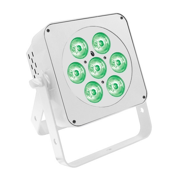 LEDJ Slimline 7HEX6 RGBWAUV LED Par Can, White Housing