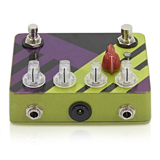 Caroline Cannonball Hand Painted Distortion Pedal, Green/Purple