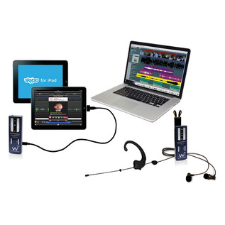 Wi Digital AudioStream Pro EL, Earset and Lavalier with Monitoring (iPad & Laptop Not Included)