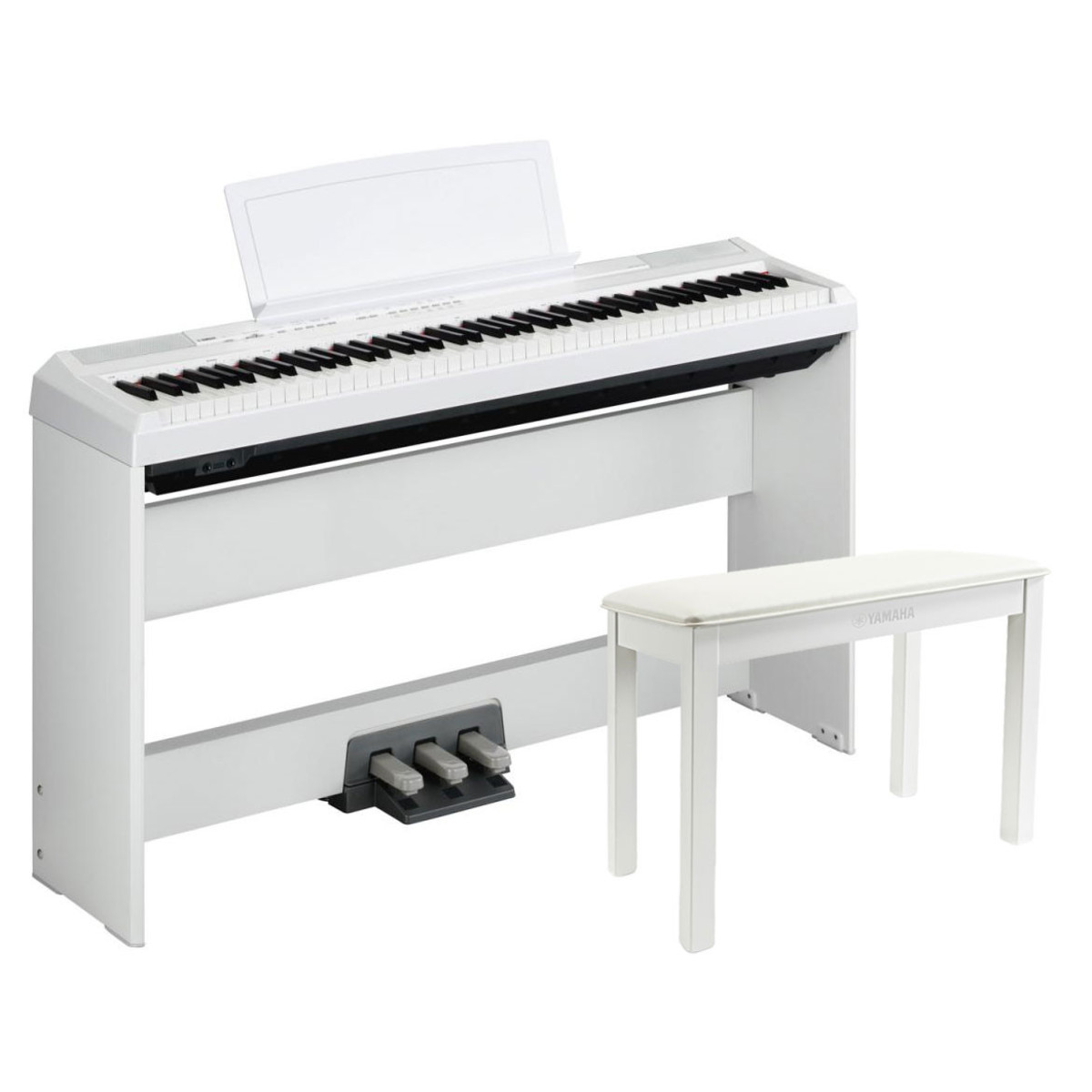 Yamaha P105 Digital Piano, White With Stand, Pedal Board And Bench. Loading  Zoom