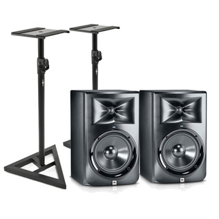 JBL LSR308 Two Way Active Studio Monitors with Free Stands (Pair)