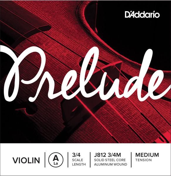 D'Addario Prelude Violin A String 3/4 Scale, Medium Tension