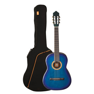 Ashton SPCG34 3/4 Size Classical Guitar Pack, Transparent Blue Burst