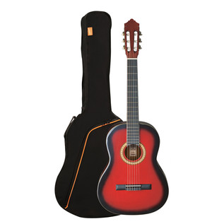 Ashton SPCG44 Full Size Classical Guitar Pack, Transparent Red Burst