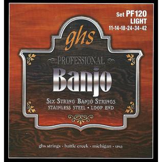 GHS PF120 Stainless Steel 6 String  Banjo Strings, Light Gauge