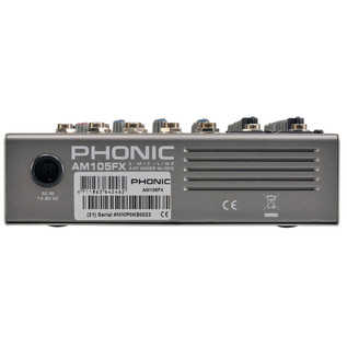 Phonic AM105FX Analog Mixer - Rear View