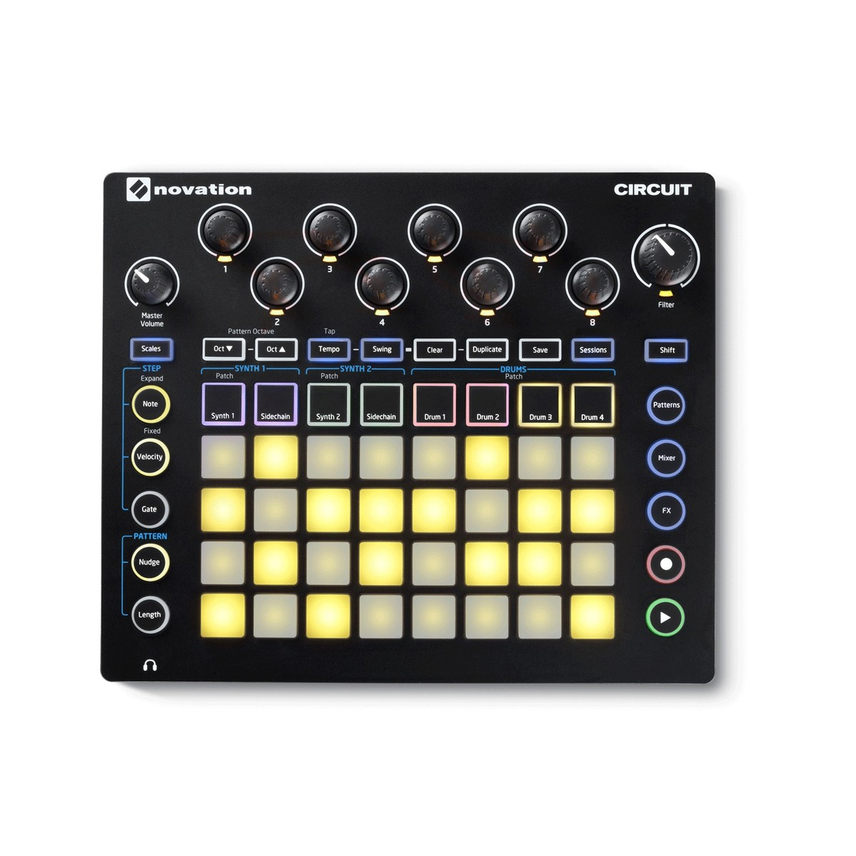 Novation Circuit Groovebox At Gear4music Simple Machines Compound Boards The Radio Standalone Synthesizer And Drum Machine Loading Zoom