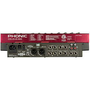 Phonic Celeus 600 Analog Mixer with USB Recorder and Bluetooth - Rear View