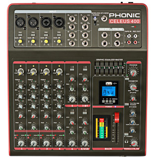 Phonic Celeus 400 Analog Mixer with USB Recorder and Bluetooth
