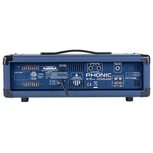 Phonic Powerpod 415RW Powered Mixer With USB Recorder and Bluetooth - Rear View