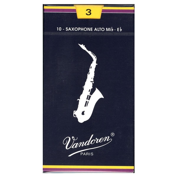 Vandoren Traditional Alto Saxophone Reeds, Strength 3, Box of 10