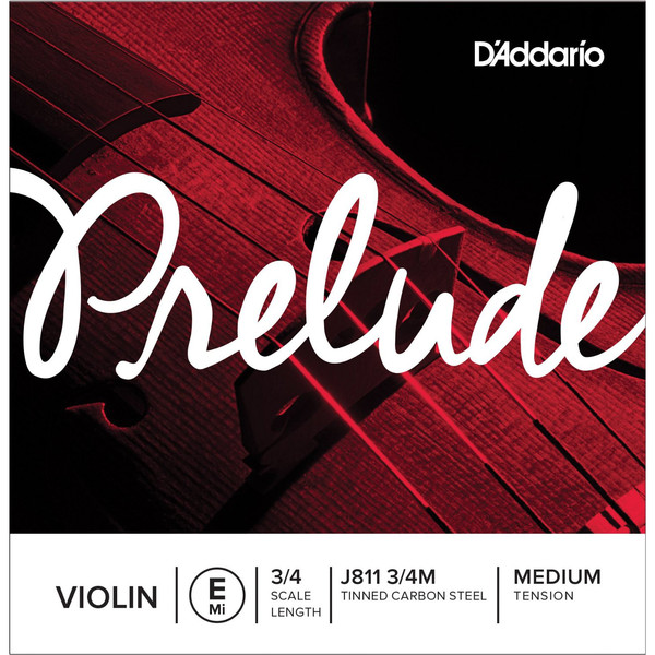 D'Addario Prelude Violin E String 3/4 Scale, Medium Tension
