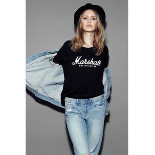 Marshall Standard T-shirt, Script Logo Graphic, Ladies Large