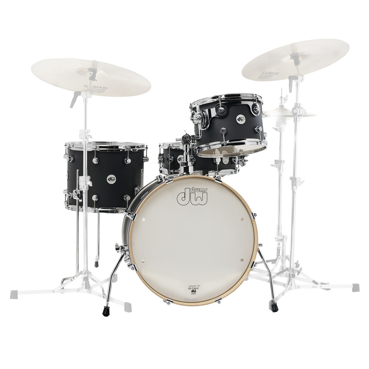 DW Frequent Flyer Matt Lacquer 20 Maple Shell Pack Black Satin Loading Zoom