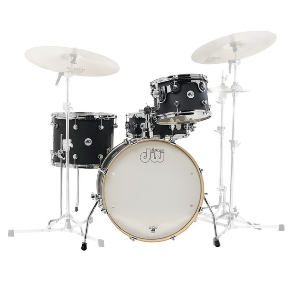 DW Frequent Flyer Matt Lacquer 20'' Maple Shell Pack, Black Satin