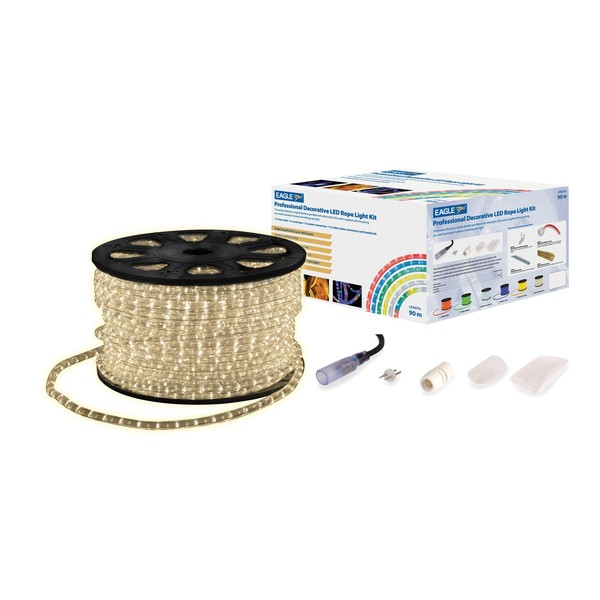 Eagle Static LED Rope Light With Wiring Kit, 90m, Ice White