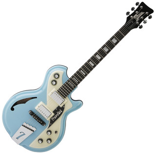 Italia Mondial Classic Electric Guitar, Blue with Gig Bag