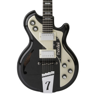 Italia Mondial Classic Electric Guitar, Black with Gig Bag