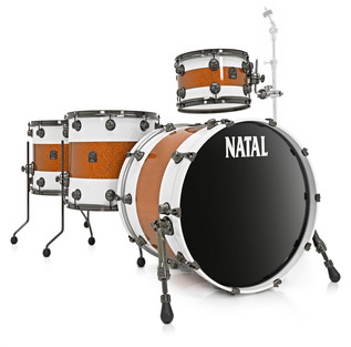 Natal Originals Maple 4pc Shell Pack, White w/ Orange Sparkle Inlay